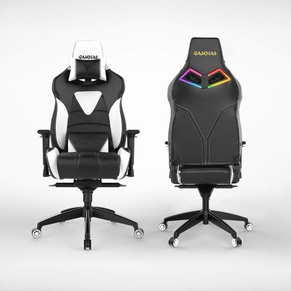[Gamdias] Achilles M1-L Multifunction PC Gaming Chair w/ RGB Customizable Streaming Lighting [Black/ White]