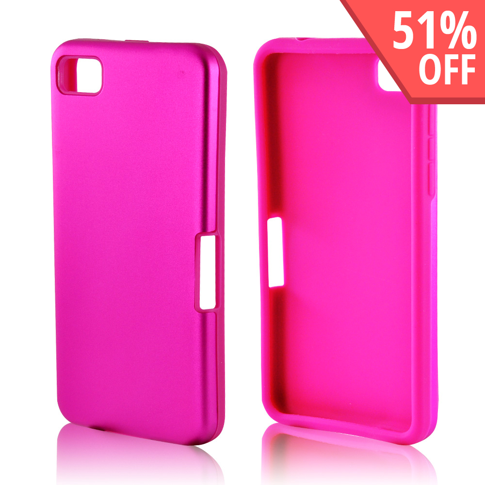 Hot Pink Aluminum Hard Case on Silicone for Blackberry Z10