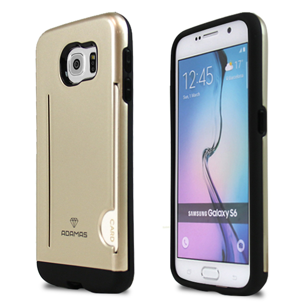 Samsung Galaxy S6 Case, ADAMAS [Gold]  Slim Card Bumper Form-Fitting Hard Plastic Protective Case Cover
