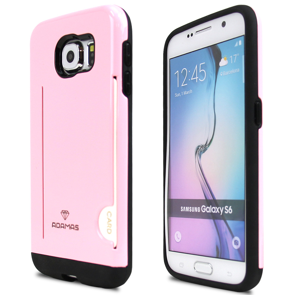 Samsung Galaxy S6 Case, ADAMAS [Pink]  Slim Card Bumper Form-Fitting Hard Plastic Protective Case Cover