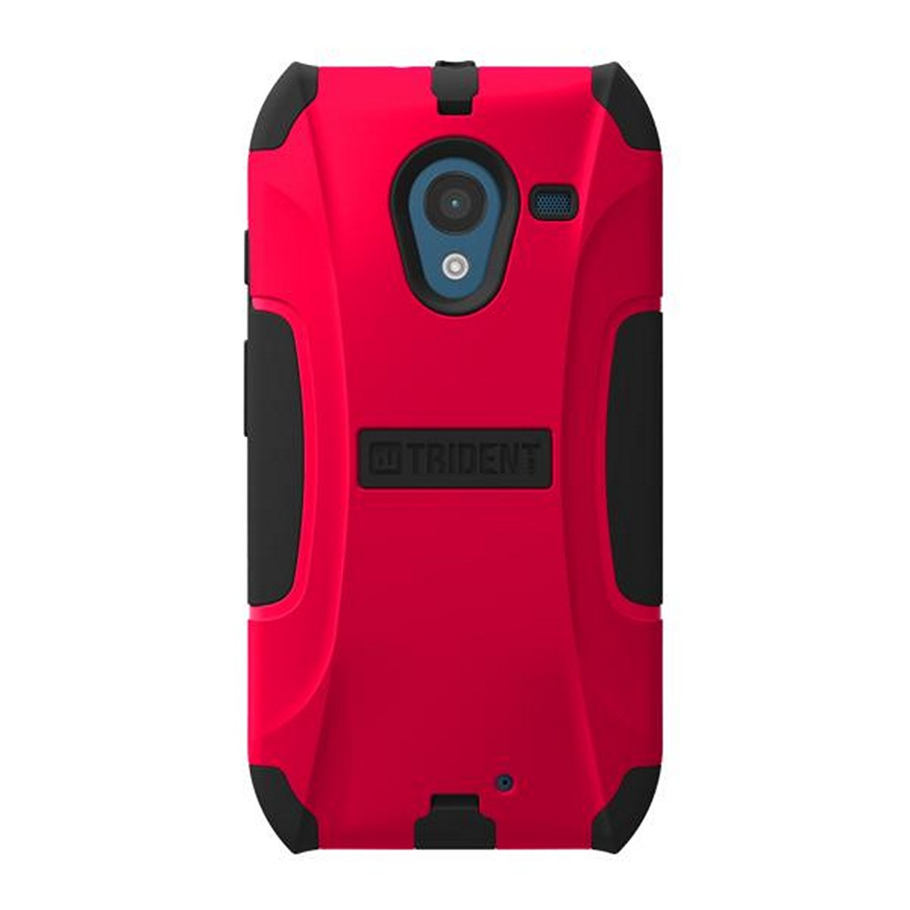 Trident Red/ Black Aegis Series Hard Cover on Silicone Skin Case w/ Screen Protector for Motorola Moto X (2013 1st Gen) - AG-MOT-X-RED
