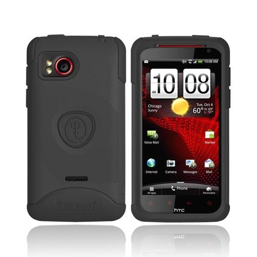 Original Trident Aegis HTC Rezound Hard Cover on Silicone Case w/ Screen Protector, AG-RZND-BK - Black
