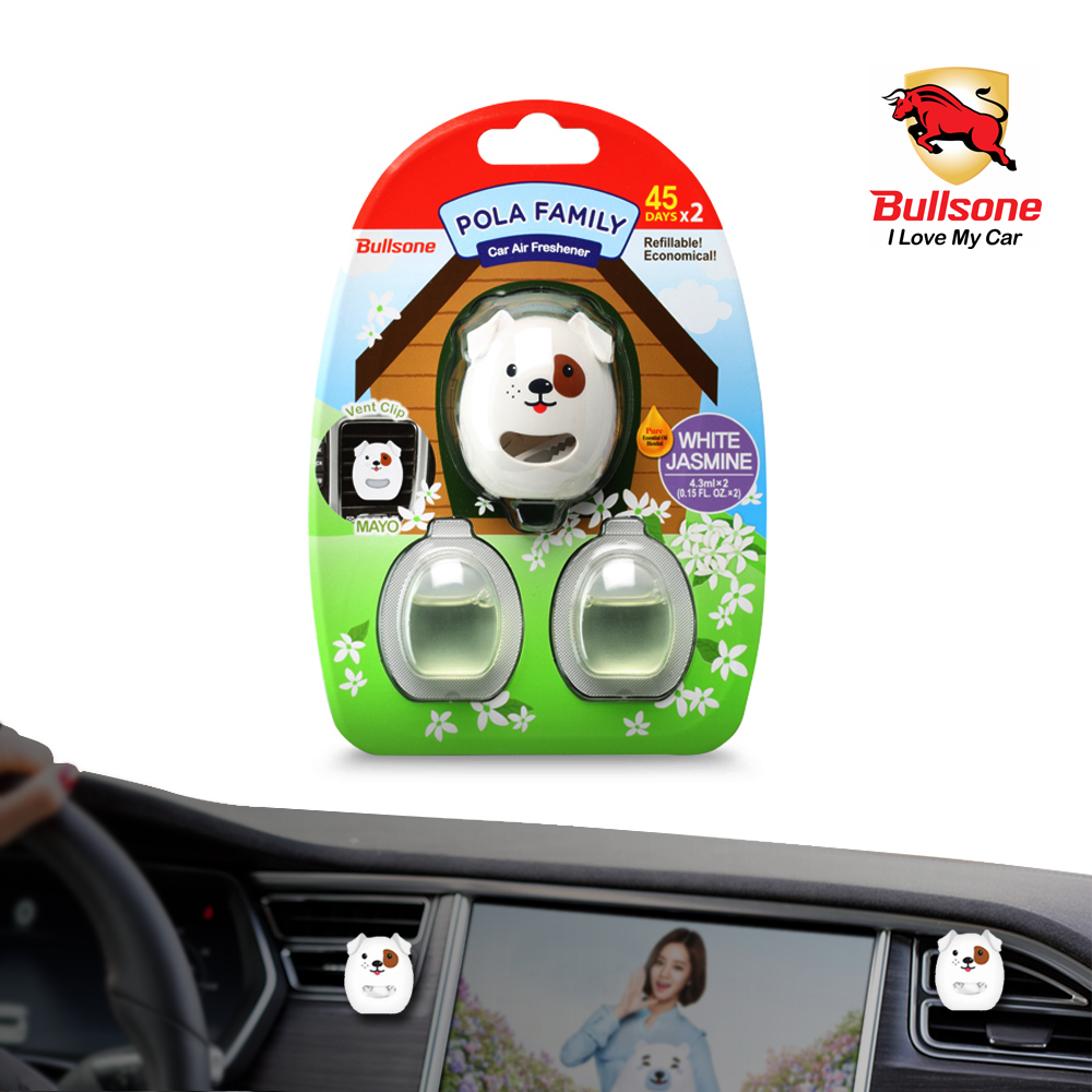 Car Air Freshener, [Jasmine] Bullsone Pola Family Refillable Vent Clip Mayo + 1 Extra Refill - 100% Natural Essential Oil Scents!