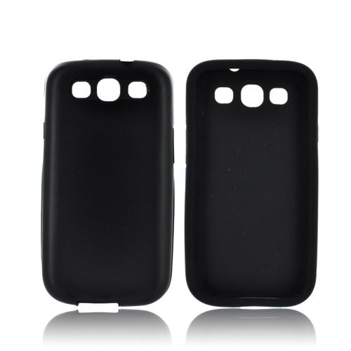 Samsung Galaxy S3 Aluminum Hard Case on Silicone - Black Aluminum on Black