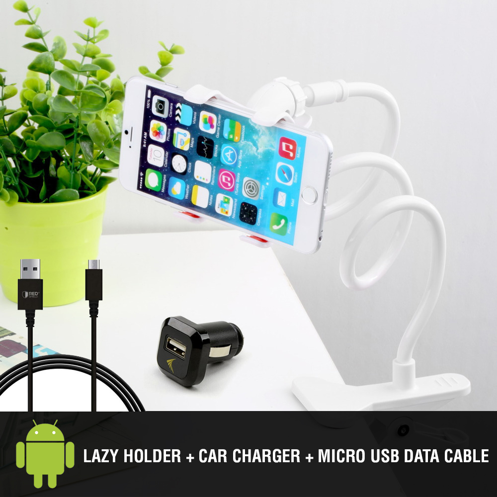 Essential Android Bundle w/ Micro USB Charge & Sync Cable, Universal USB Car Charger Adapter, & Lazy Bracket Flexible Holder Mount
