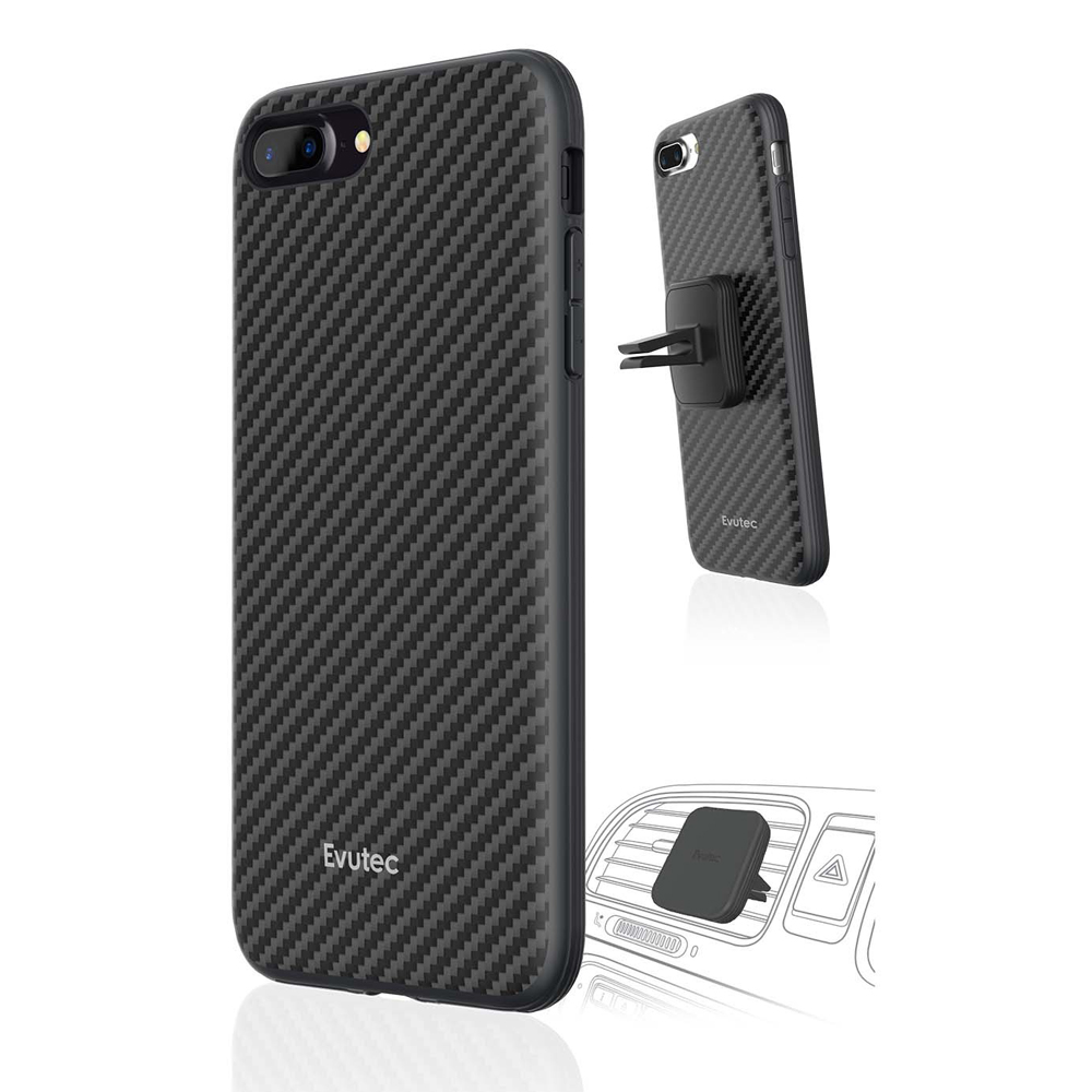 Apple iPhone 8/7/6S/6 Case, Evutec - Karbon AER Scratch Resistant [Reinforced Kevlar Fibers] Hard Case w/ Vent Mount [Black]