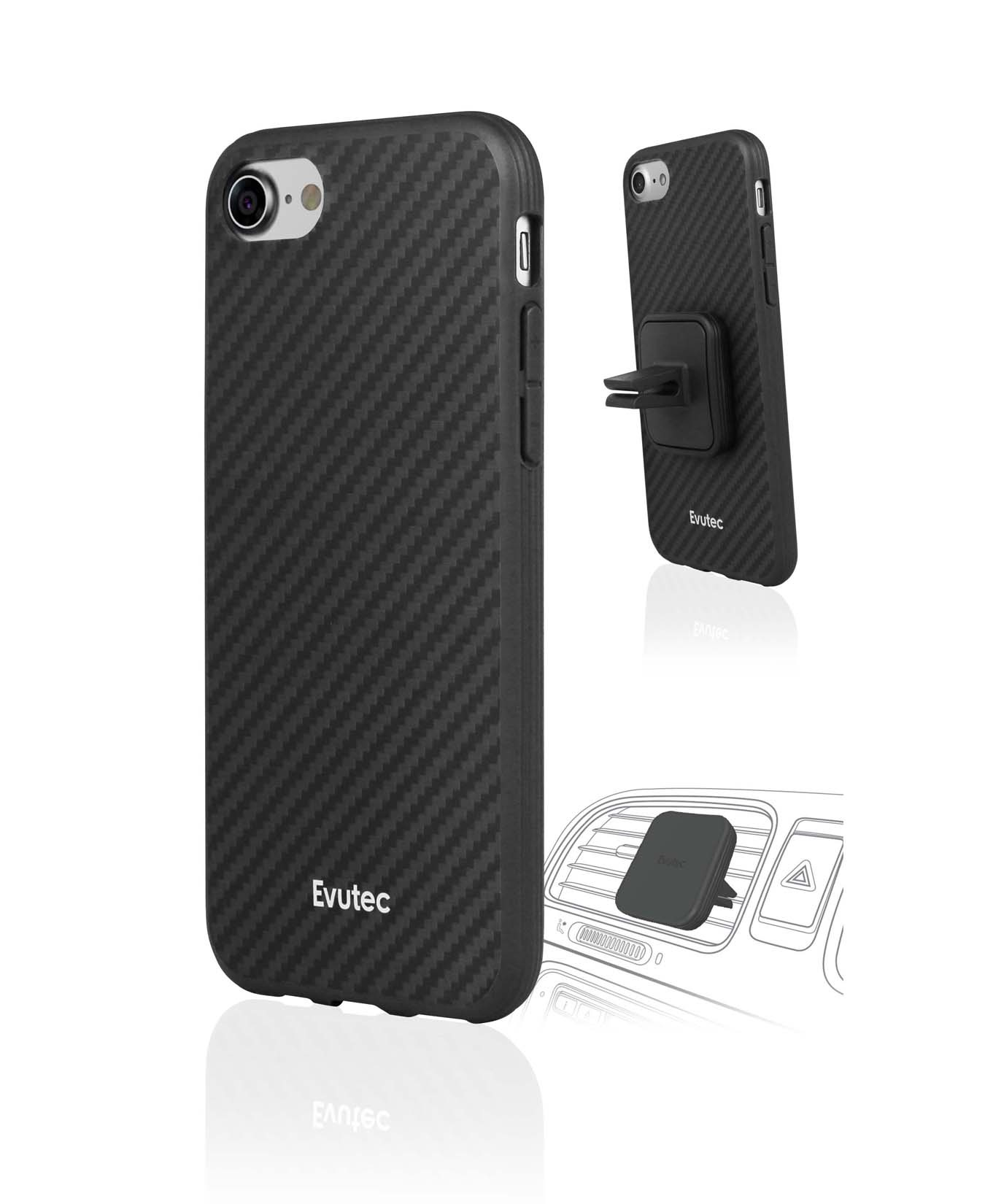 Apple iPhone 8/7/6S/6 Plus Case, Evutec - Karbon AER Scratch Resistant [Reinforced Kevlar Fibers] Hard Case w/ Vent Mount [Black]