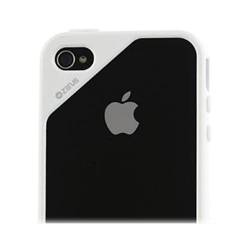 Original Zenus AT&T/ Verizon Apple iPhone 4, iPhone 4S Air Bumper Mask Hard Case w/ Screen Protector, APIP4-BB2BA-WHWH - White