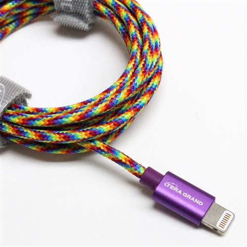 TERA GRAND Apple MFI Certified Lightning Compatible Cable to USB Braided Cable [Rainbow] w/ Aluminum Housing (4 feet/ 1.2 m)