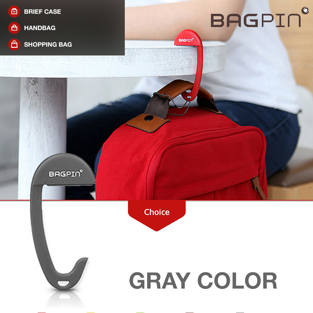 Bagpin Hanger [Gray] Super Strong Hanger/Hook For Purses, Bags, And Backpacks (Holds Up To 33lbs!) Attaches To Your Purse Or Bag For Convenience