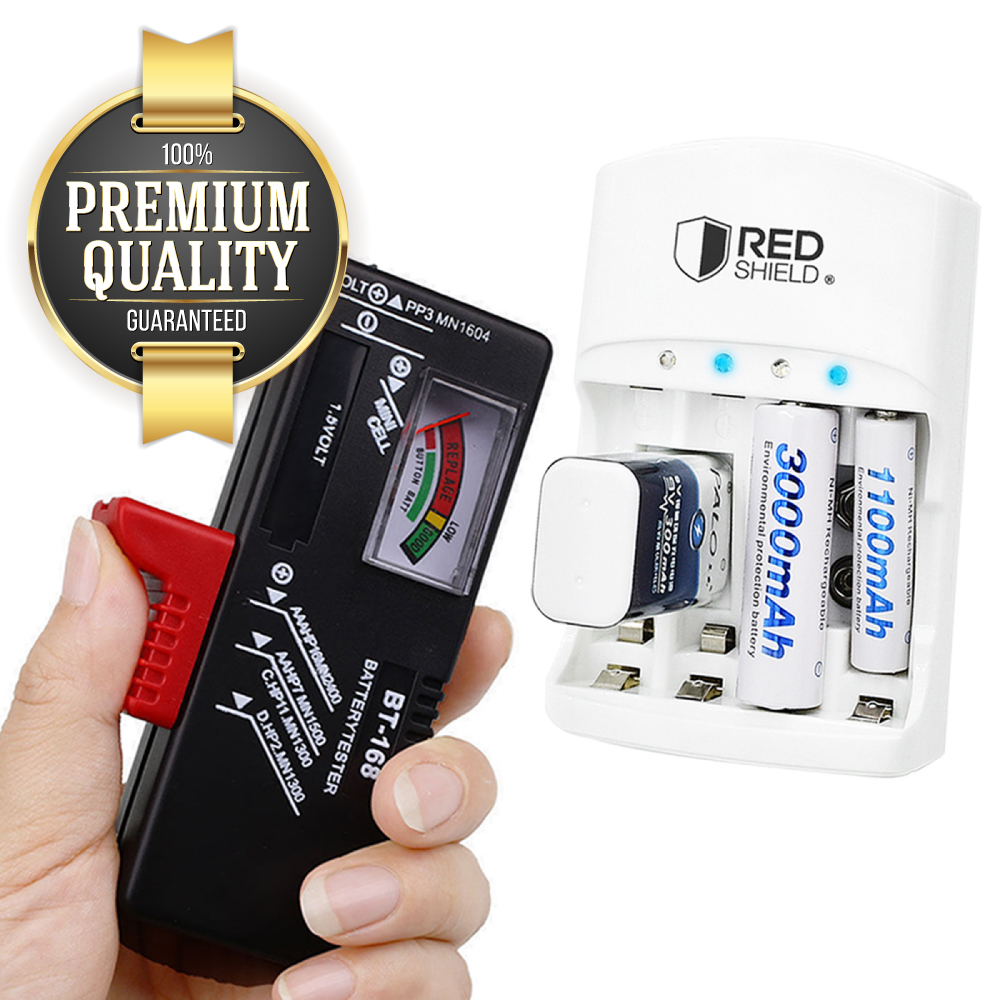 RED SHIELD Universal Battery Tester and Charger Bundle. Check, Test, and Recharge 9V, AA, AAA, Ni-MH, Ni-CD & Li-Ion Rechargeable Batteries. Adjustable Slider with Gauge Display. Worldwide Compatible.
