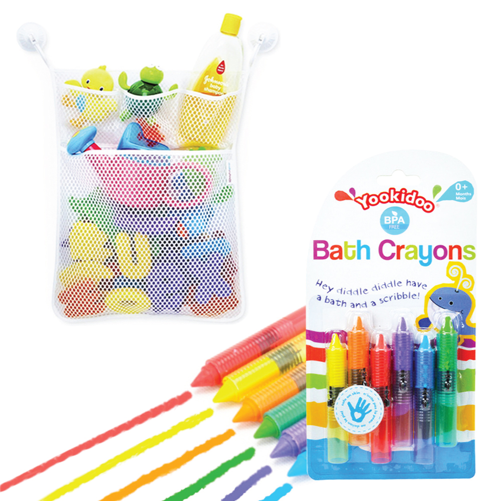 Eutuxia Baby Bath Combo. Bathtub Crayons + Toy Organizer. Includes Mesh Net Bag, 4 Lock Tight Suction Hooks, and 6 Colorful Crayon Set. Fun Entertainment for Kids, Toddlers, and Children. BPA Free.