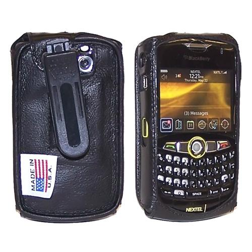 Original TurtleBack Premium Blackberry Curve 8330, 8320, 8310, 8300 Leather Case w/ Swivel Belt Clip - Black
