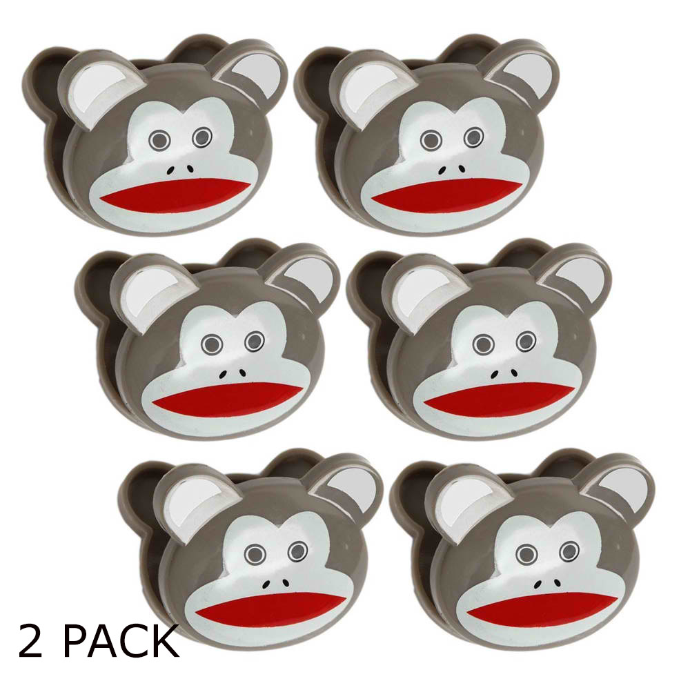 [Kikkerland] Cute Sock Monkeys Bag Clips [Brown] - Set of 12!