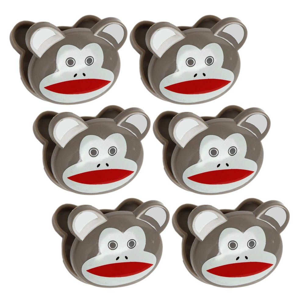 [Kikkerland] Cute Sock Monkeys Bag Clips [Brown] - Set of 6!