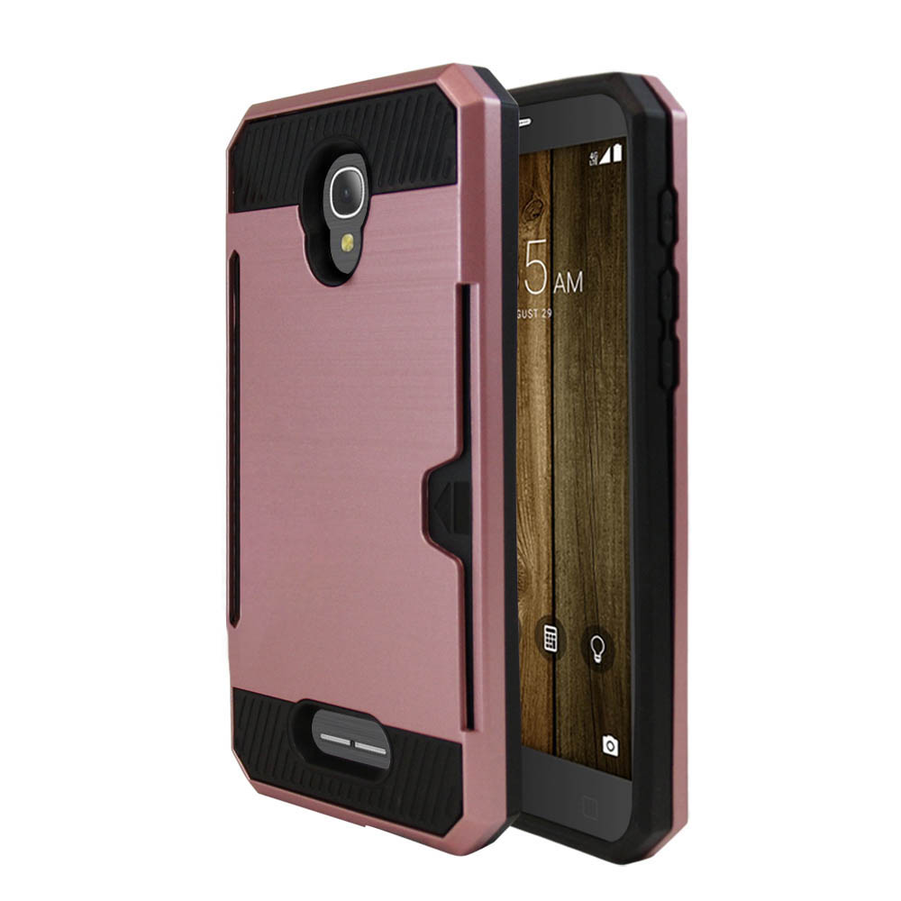 Alcatel Fierce 4 Case, Super Slim Brushed Metallic Hybrid Hard Cover on TPU w/ Card Slots [Rose Gold] with Travel Wallet Phone Stand
