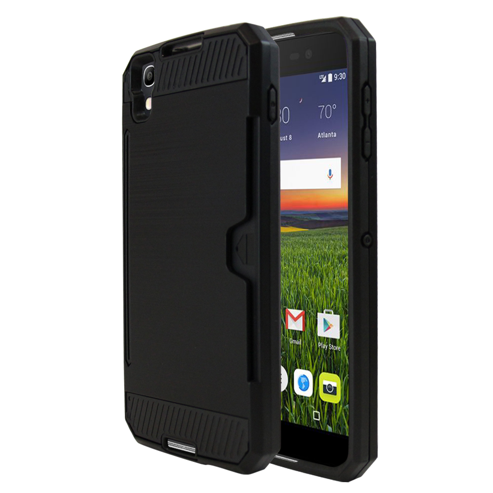 Made for [Alcatel Idol 4] Super Slim Brushed Metallic Hybrid Hard Cover on TPU w/ Card Slots [Black] with Travel Wallet Phone Stand