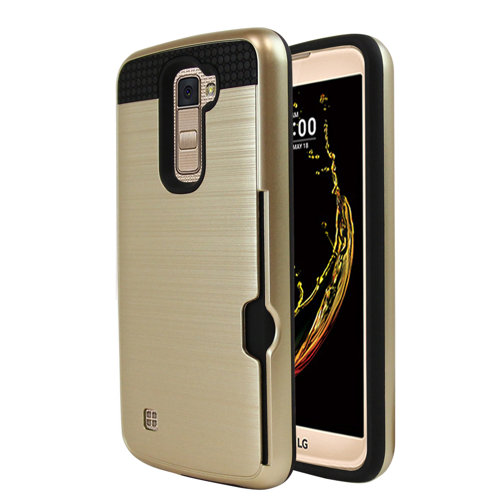 LG K10 Case, Super Slim Brushed Metallic Hybrid Hard Cover on TPU w/ Card Slots [Gold]