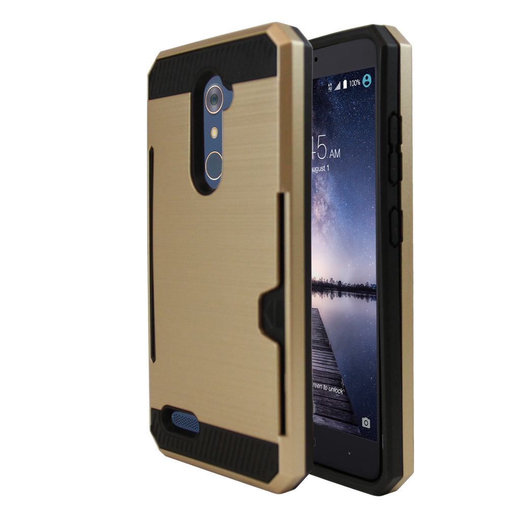 [ZTE ZMax Pro] Case, Super Slim Brushed Metallic Hybrid Hard Cover on TPU w/ Card Slots [Gold]