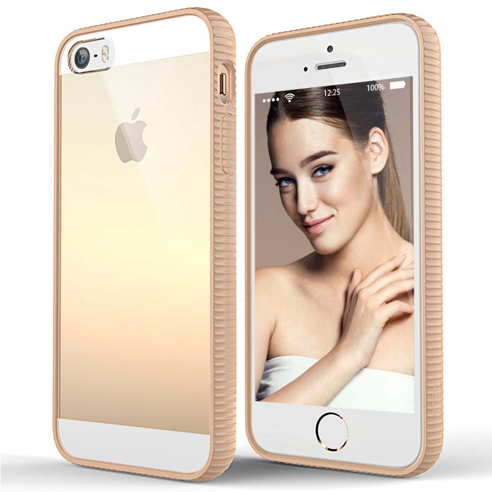 Apple iPhone SE/5/5S Case, BEFROG [Tan] Crystal Hard Back Slim Flexible Grip Clear Back Panel + TPU Bumper Cover Case