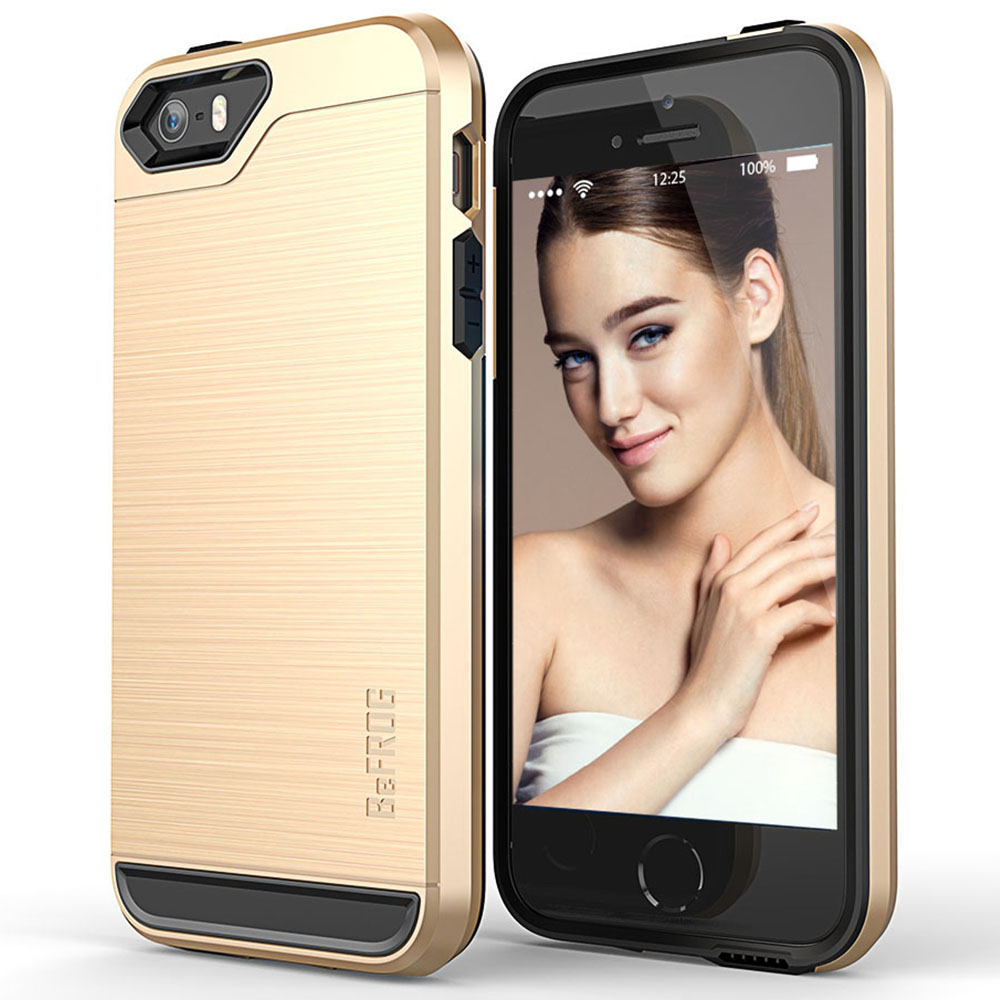 Apple iPhone SE/5/5S Case, BEFROG [Gold] Dual Layer Drop Protective Case [Armor Case] PC + TPU Bumper Case
