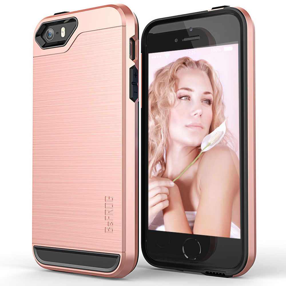 Apple iPhone SE/5/5S Case, BEFROG [Rose Gold] Dual Layer Drop Protective Case [Armor Case] PC + TPU Bumper Case