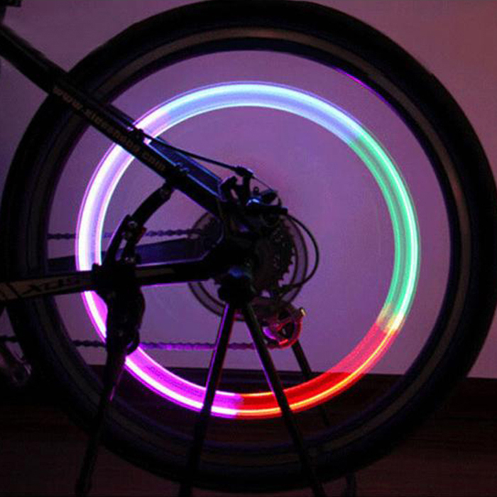 Waterproof Bike Tire Valve 7 Color LED Light [2 Pack] - Rainbow LED w/ Batteries Included! Stand Out at Night!
