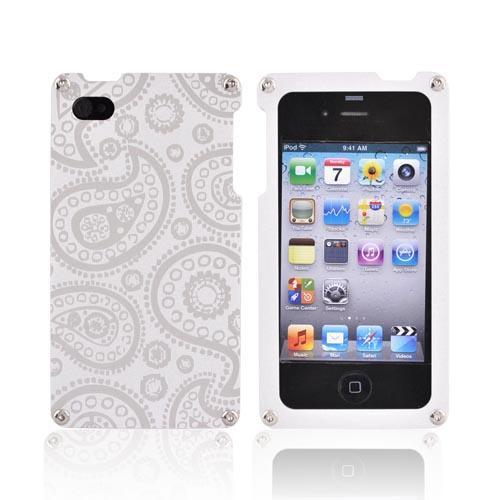 Exclusive BNA Nature AT&T/Verizon Apple iPhone 4 Aluminum Hard Case & Screen Protector, Exclusively from AccessoryGeeks! BNA-006-PA - Silver (Paisley)
