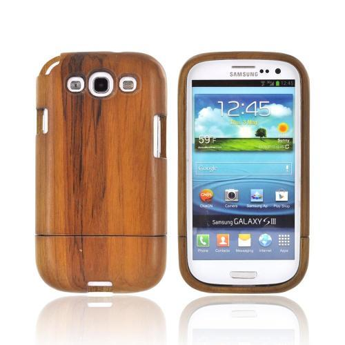 Exclusive TPhone Eco-Design Samsung Galaxy S3 Hard Wood Sliding Cover Case - Brown Teak