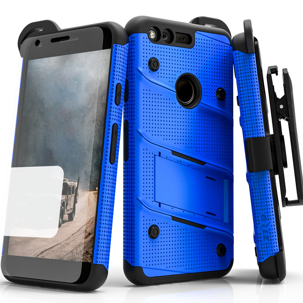 Google Pixel Case - [bolt] Heavy Duty Cover w/ Kickstand, Holster, Tempered Glass Screen Protector & Lanyard [Blue/ Black]
