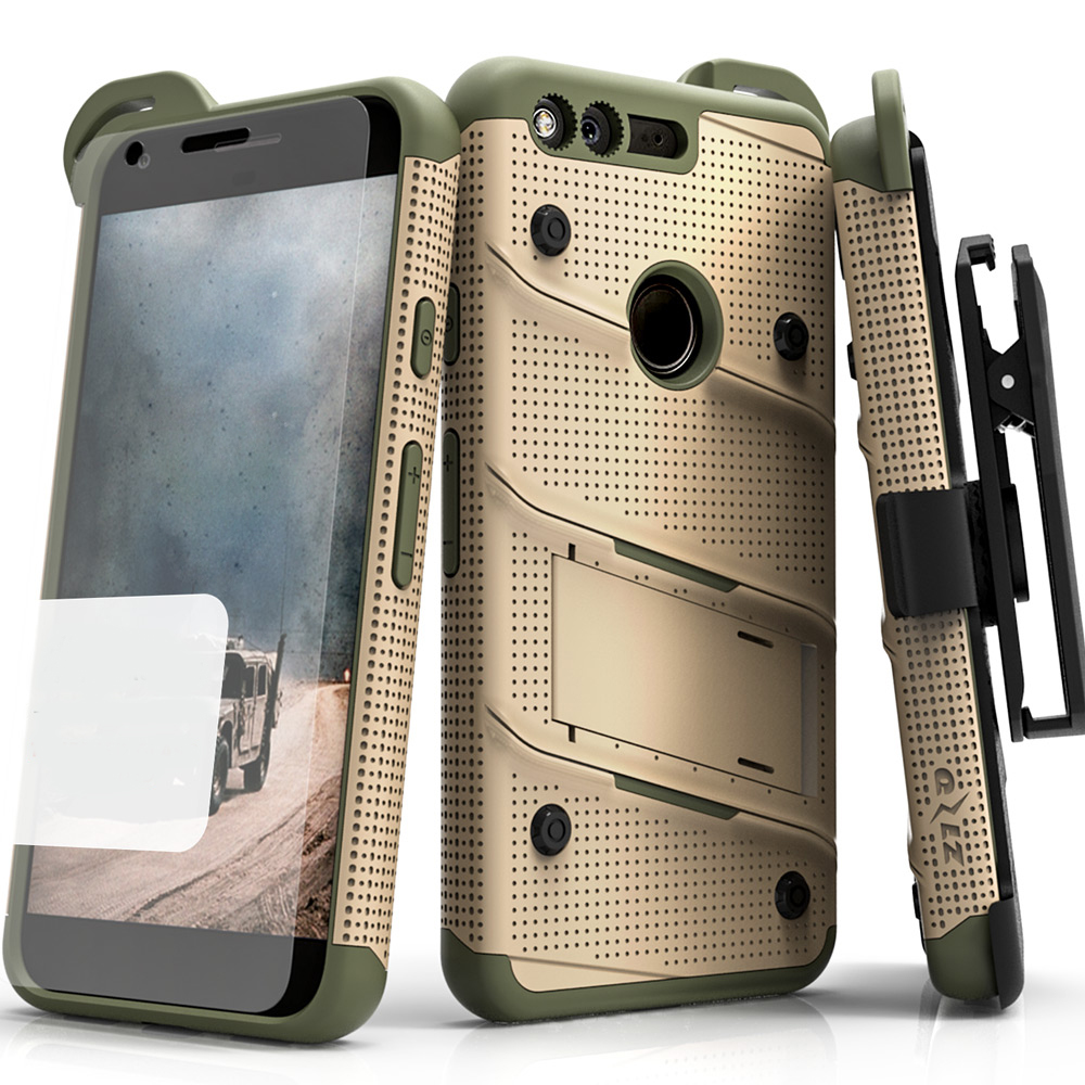 Made for [Google Pixel]-Bolt Series: Heavy Duty Cover w/ Kickstand Holster Tempered Glass Screen Protector & Lanyard [Desert Tan/ Camo Green]