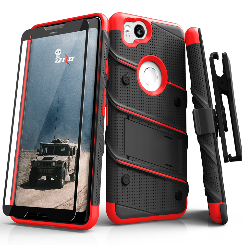 Made for [Google Pixel 2]-Bolt Series: Heavy Duty Cover w/ Kickstand Holster Tempered Glass Screen Protector & Lanyard [Black/ Red]