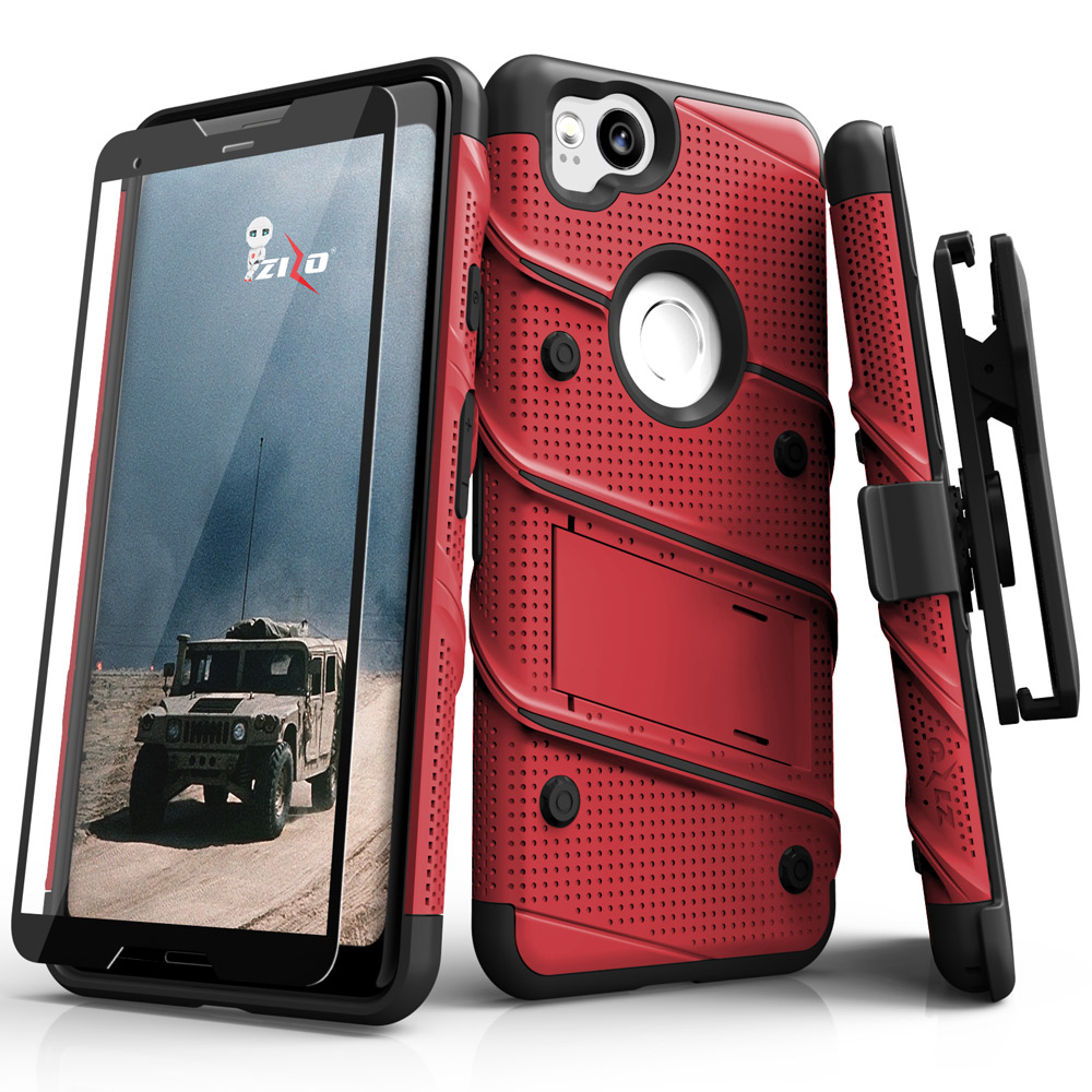 Made for [Google Pixel 2]-Bolt Series: Heavy Duty Cover w/ Kickstand Holster Tempered Glass Screen Protector & Lanyard [Red/ Black]