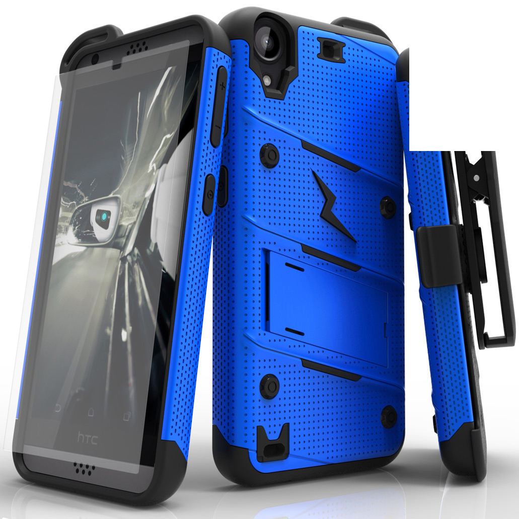 Made for [HTC Desire 530]-Bolt Series: Heavy Duty Cover w/ Kickstand Holster Tempered Glass Screen Protector & Lanyard [Blue/ Black]