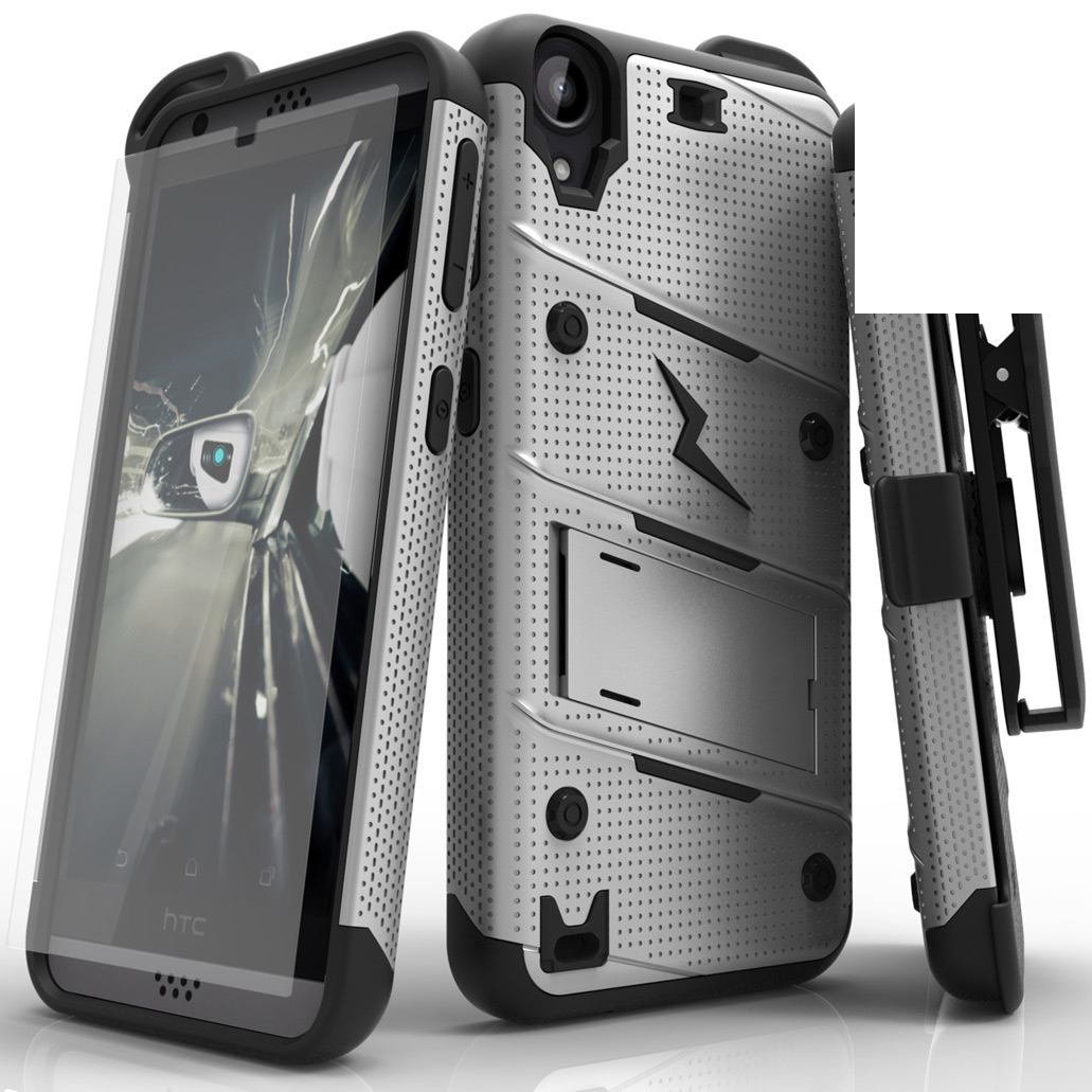 Made for [HTC Desire 530]-Bolt Series: Heavy Duty Cover w/ Kickstand Holster Tempered Glass Screen Protector & Lanyard [Gray/ Black]