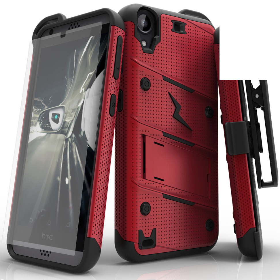 Made for [HTC Desire 530]-Bolt Series: Heavy Duty Cover w/ Kickstand Holster Tempered Glass Screen Protector & Lanyard [Red/ Black]