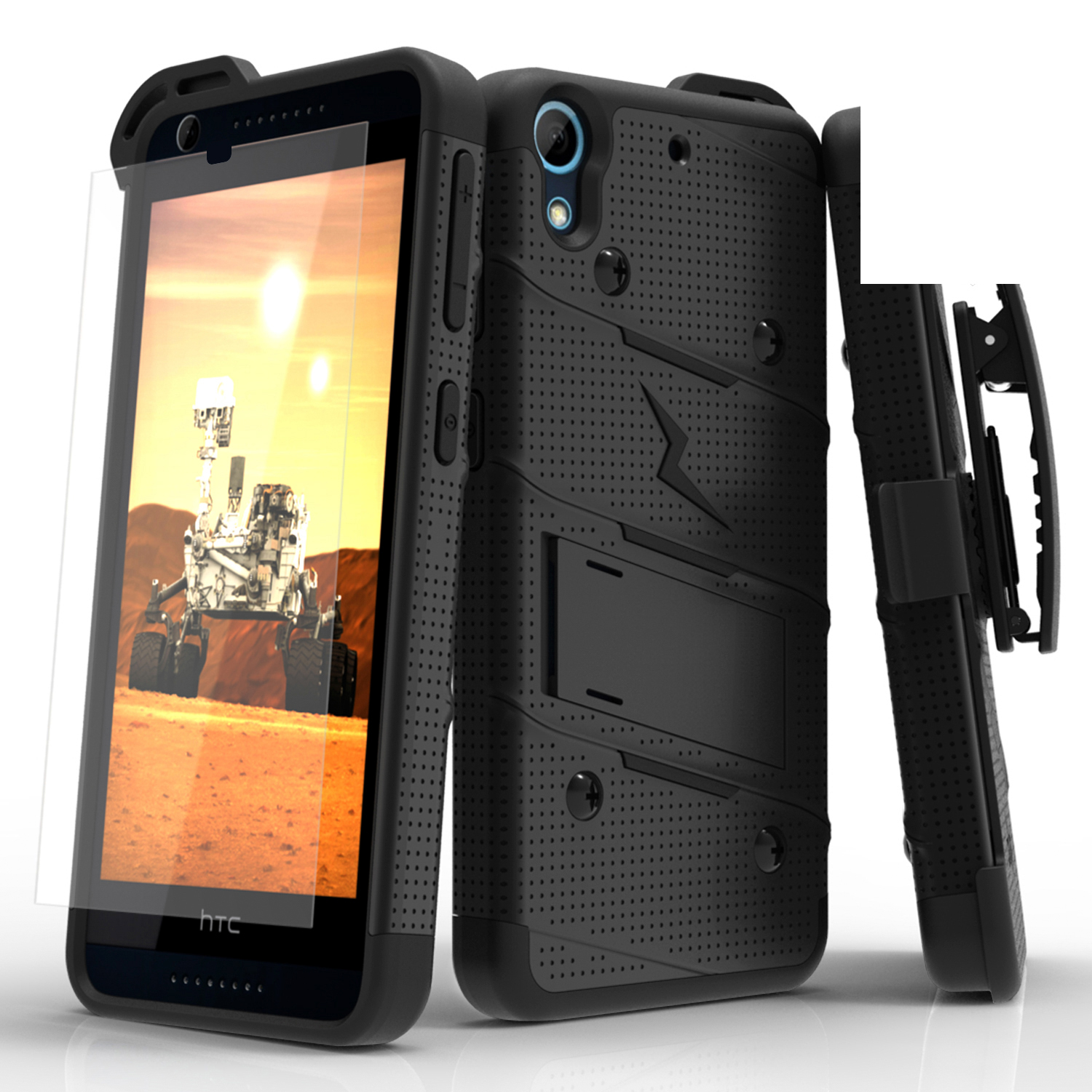HTC Desire 626/ 626S Case - [bolt] Heavy Duty Cover w/ Kickstand, Holster, Tempered Glass Screen Protector & Lanyard [Black]