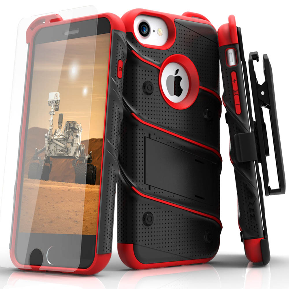 Apple iPhone 6/6S (4.7 inch) Case - [BOLT] Heavy Duty Cover w/ Kickstand, Holster, Tempered Glass Screen Protector & Lanyard [Black/ Red]
