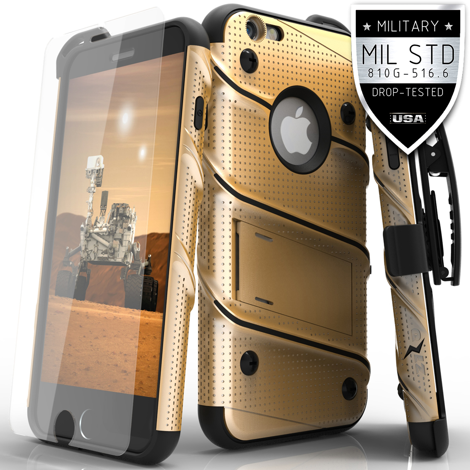 Made for [Apple iPhone 6S/6 (4.7 inch)]-Bolt Series: Heavy Duty Cover w/ Kickstand Holster Tempered Glass Screen Protector & Lanyard [Gold/ Black]