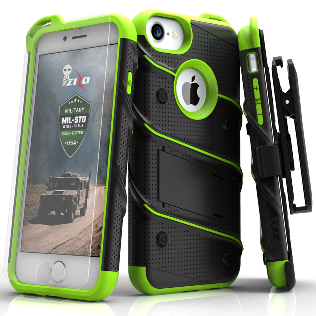 Apple iPhone 8/7/6S/6 Case - [BOLT] Heavy Duty Cover w/ Kickstand, Holster, Tempered Glass Screen Protector & Lanyard [Black/ Neon Green]