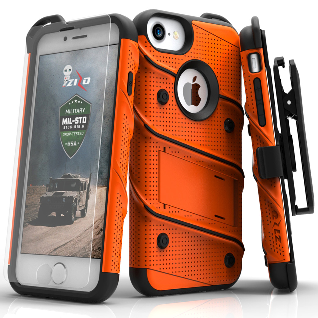 Apple iPhone 8/7/6S/6 Case - [BOLT] Heavy Duty Cover w/ Kickstand, Holster, Tempered Glass Screen Protector & Lanyard [Orange/ Black]