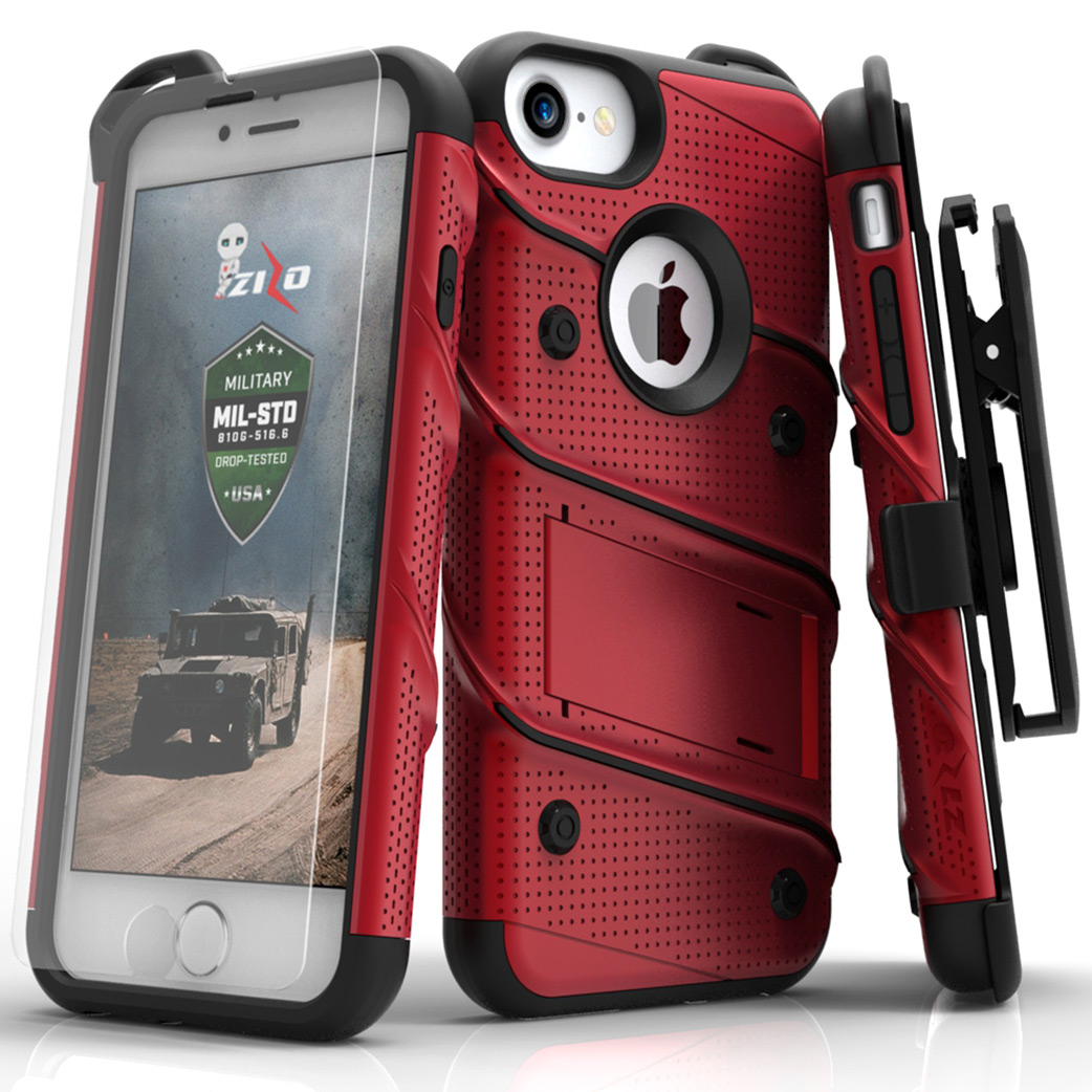 Apple iPhone 8/7/6S/6 Case - [BOLT] Heavy Duty Cover w/ Kickstand, Holster, Tempered Glass Screen Protector & Lanyard [Red/ Black]