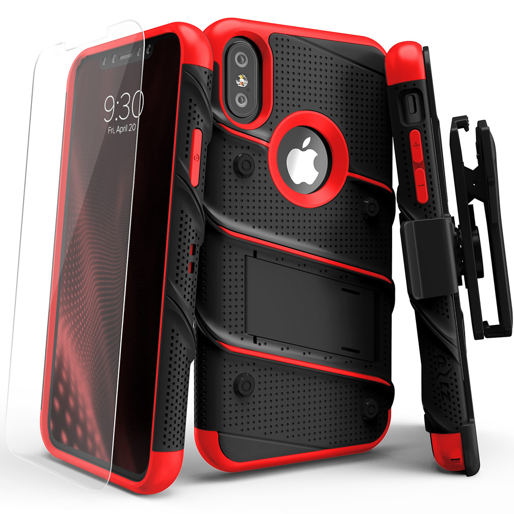Made for [Apple iPhone X / XS 2018]-Bolt Series: Heavy Duty Cover w/ Kickstand Holster Tempered Glass Screen Protector & Lanyard [Black/ Red]