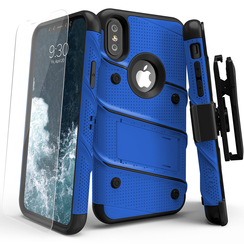 Made for [Apple iPhone X]-Bolt Series: Heavy Duty Cover w/ Kickstand Holster Tempered Glass Screen Protector & Lanyard [Blue/ Black]