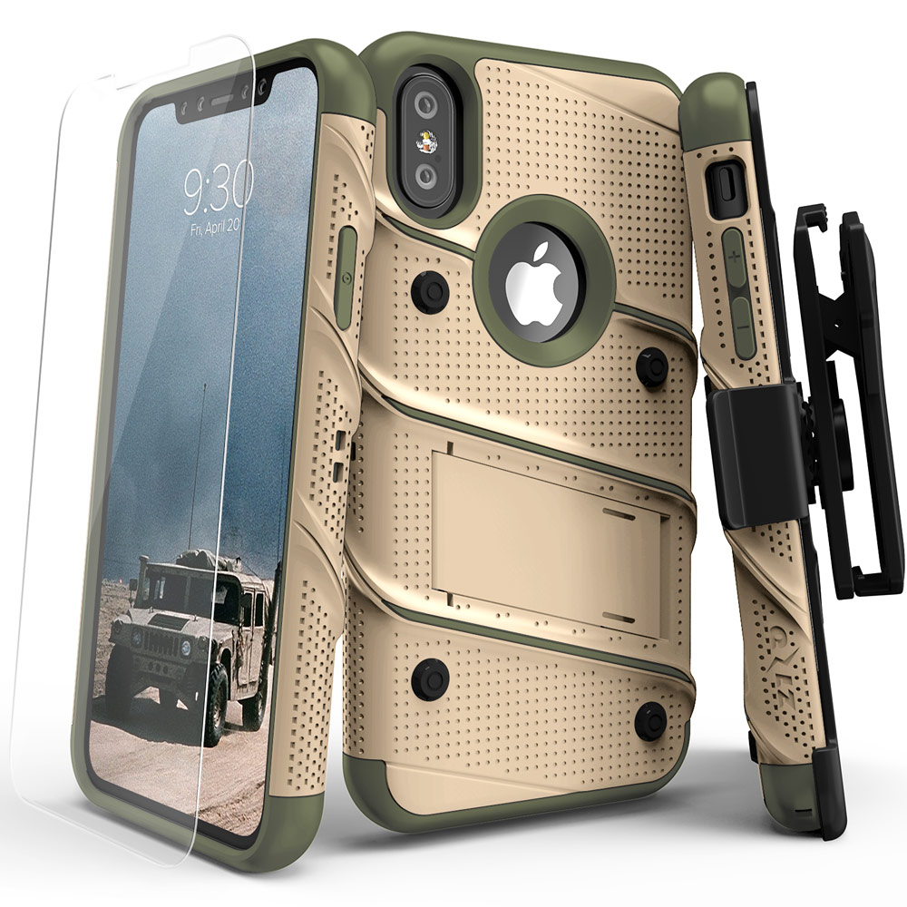 Apple iPhone X Case, [BOLT] Heavy Duty Cover w/ Kickstand, Holster, Tempered Glass Screen Protector & Lanyard [Desert Tan/ Camo Green]