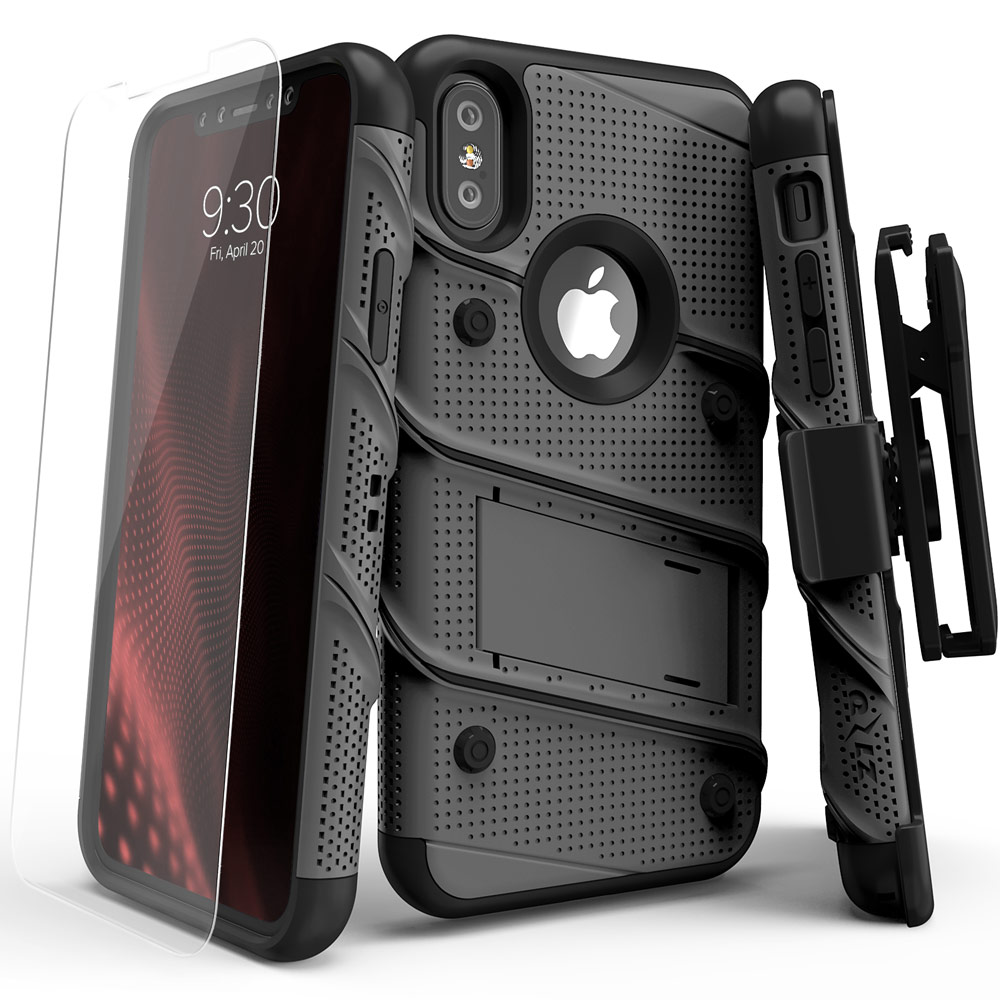 Made for [Apple iPhone X]-Bolt Series: Heavy Duty Cover w/ Kickstand Holster Tempered Glass Screen Protector & Lanyard [Gunmetal Gray/ Black]