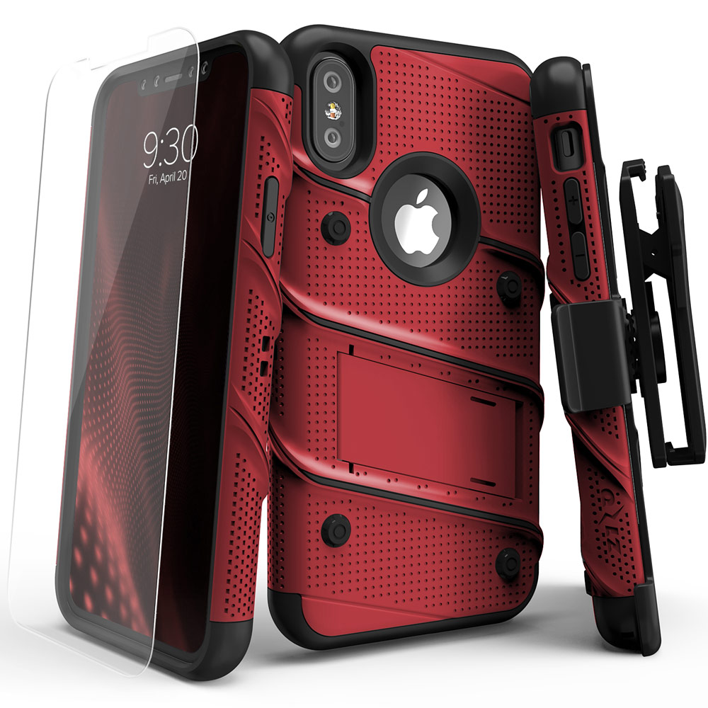Made for [Apple iPhone X]-Bolt Series: Heavy Duty Cover w/ Kickstand Holster Tempered Glass Screen Protector & Lanyard [Red/ Black]