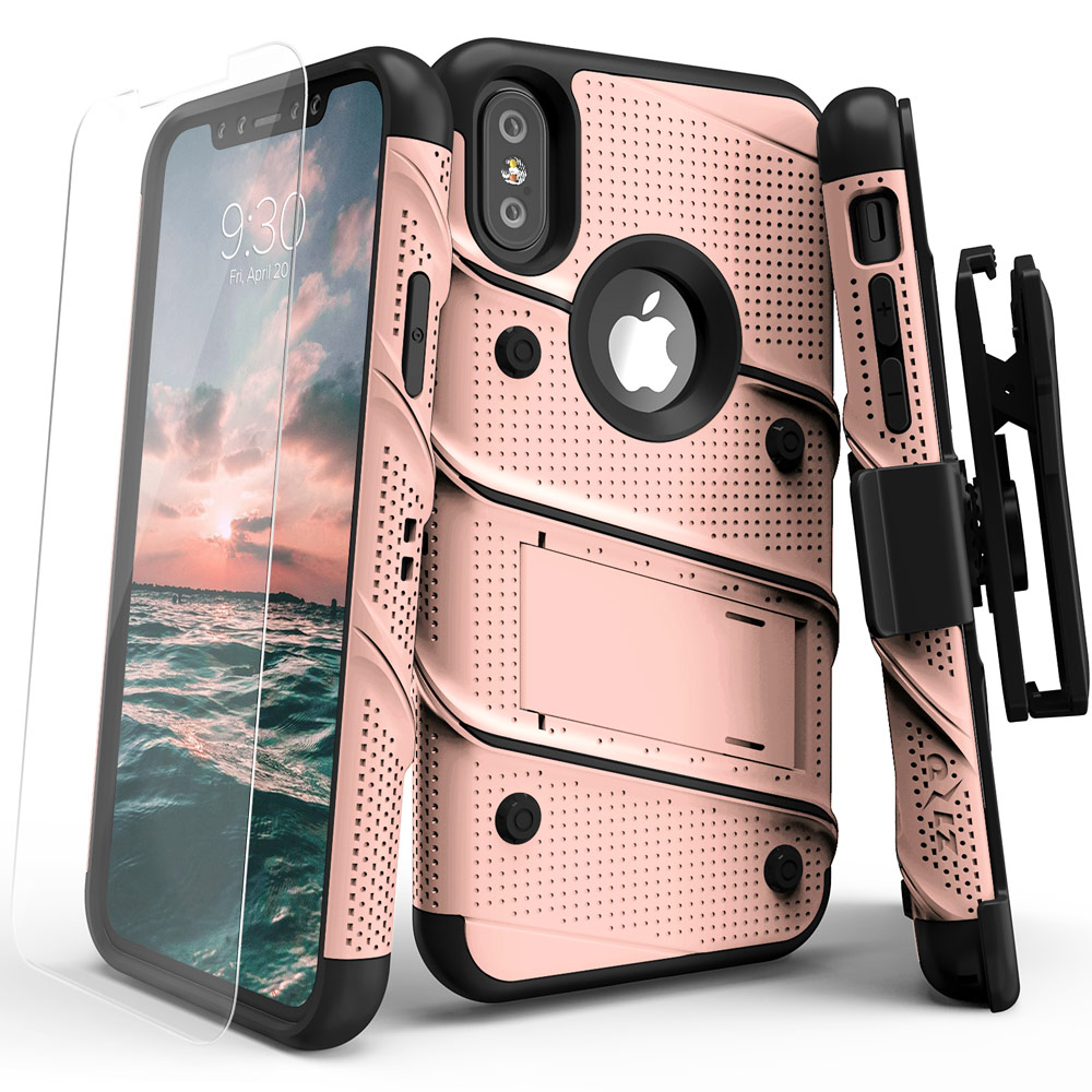Made for [Apple iPhone X / XS 2018]-Bolt Series: Heavy Duty Cover w/ Kickstand Holster Tempered Glass Screen Protector & Lanyard [Rose Gold/ Black]