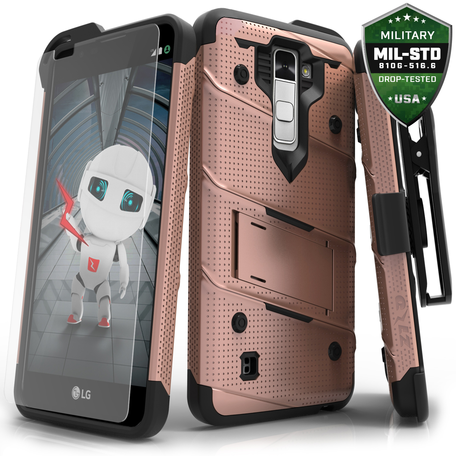 Made for [LG K10]-Bolt Series: Heavy Duty Cover w/ Kickstand Holster Tempered Glass Screen Protector & Lanyard [Rose Gold/ Black]