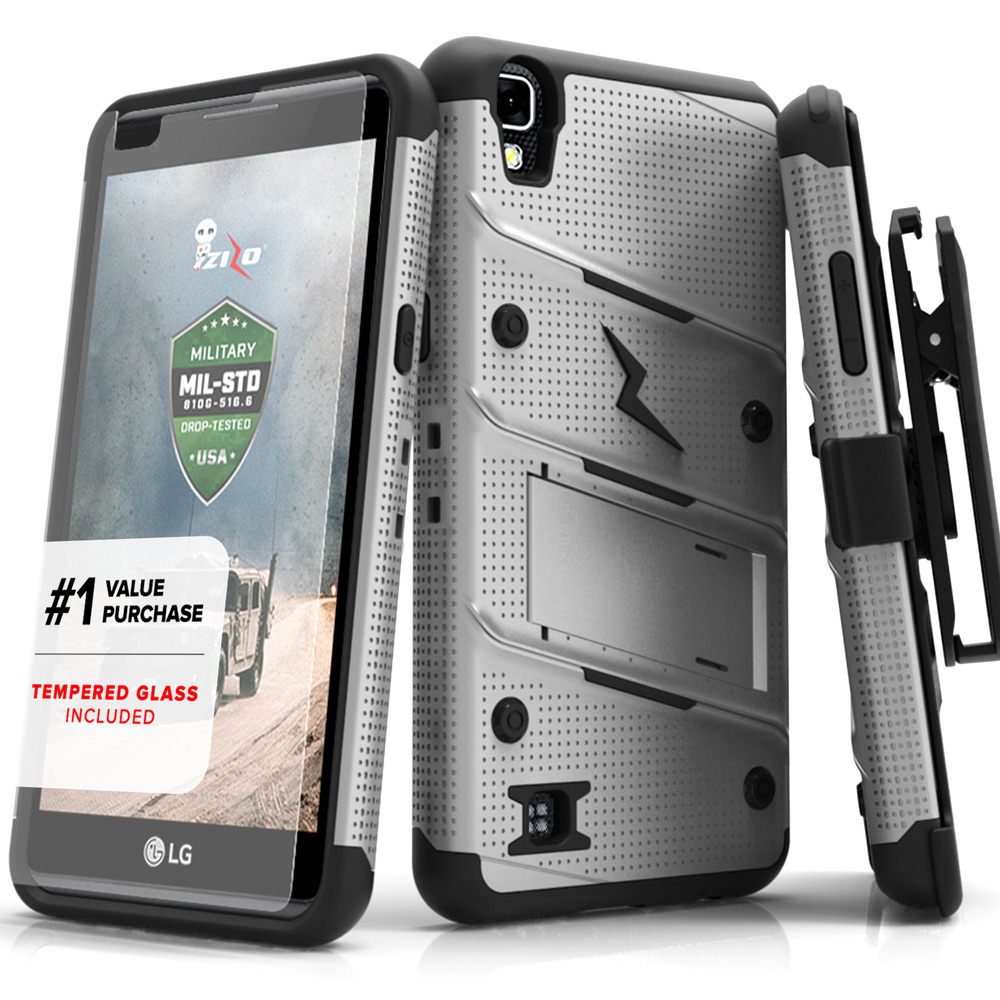 LG X Power Case - [BOLT] Heavy Duty Cover w/ Kickstand, Holster, Tempered Glass Screen Protector & Lanyard [Gray/ Black]